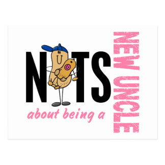 Nuts About Being A New Uncle 1 Pink Postcard