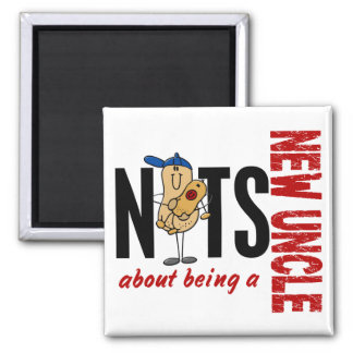 Nuts About Being A New Uncle 1 Red 2 Inch Square Magnet