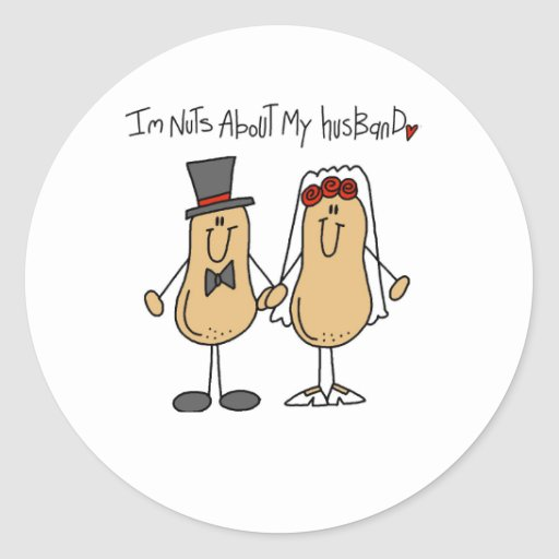 Nuts About My Husband Classic Round Sticker