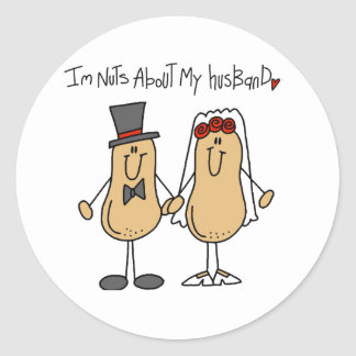 Nuts About My Husband T-shirts and Gifts Round Stickers