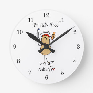 Nuts About Nursing T-shirts and Gifts Round Clock