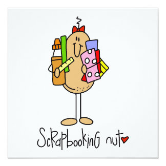 """Nuts About Scrapbooking 5.25"""" Square Invitation Card"""