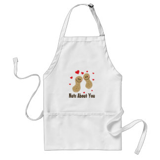 Nuts About You Cute Peanuts Food Pun Humor Cartoon Adult Apron