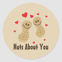 Nuts About You Cute Peanuts Food Pun Humor Cartoon Classic Round Sticker