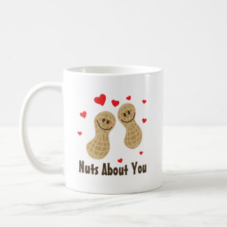 Nuts About You Cute Peanuts Food Pun Humor Cartoon Coffee Mug