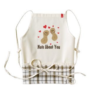 Nuts About You Cute Peanuts Food Pun Humor Cartoon Zazzle HEART Apron