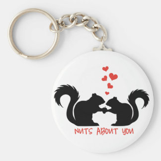 Nuts about you, squirrels in love basic round button keychain