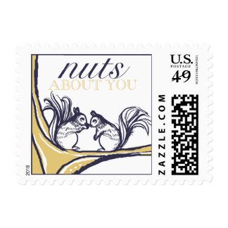 Nuts About You Squirrels Wedding Postage Stamps