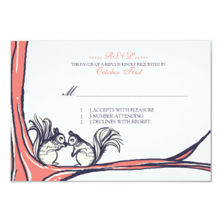 Nuts About You Squirrels Wedding RSVP Card