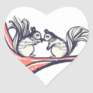Nuts About You Squirrels Wedding Heart Stickers