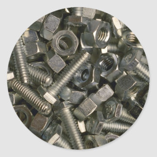 Nuts and bolts round sticker