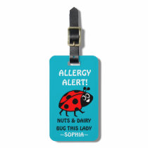 Nuts and Dairy Allergy Ladybug Medical Alert Luggage Tag
