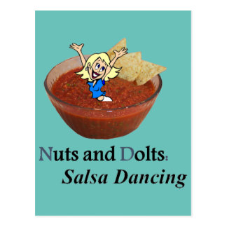 Nuts and Dolts: Salsa Dancing Postcard