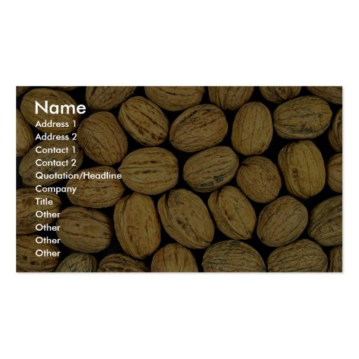 Nutty background business card template