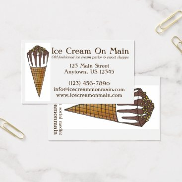 Professional Business Nutty Buddy Chocolate Ice Cream Sweet Shoppe Cone Business Card