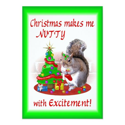 Nutty Christmas Squirrel 5x7 Paper Invitation Card