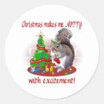 Nutty Christmas Squirrel Round Stickers