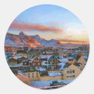 Nuuk City Greenland by Ozborne Whilliansson Classic Round Sticker