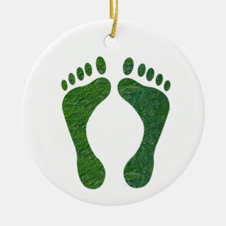 NVN36 navinJOSHI Green FOOTprint EarthDay Warming Double-Sided Ceramic Round Christmas Ornament