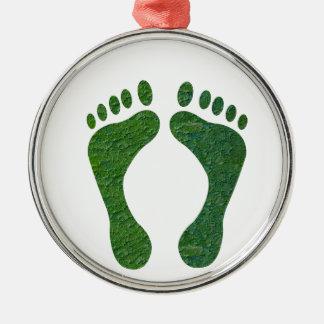 NVN36 navinJOSHI Green FOOTprint EarthDay Warming Round Metal Christmas Ornament