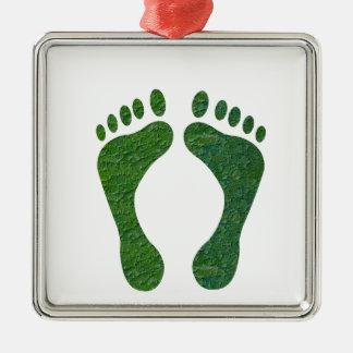 NVN36 navinJOSHI Green FOOTprint EarthDay Warming Square Metal Christmas Ornament