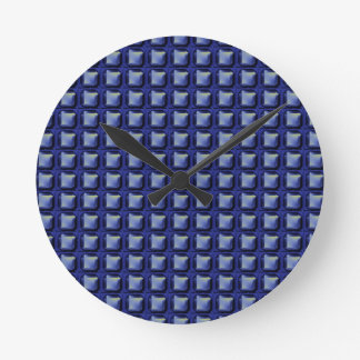 NVN8 NavinJOSHI Blue SQUARED art Round Clock