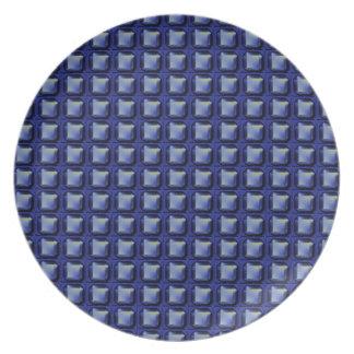 NVN8 NavinJOSHI Blue SQUARED art Dinner Plates