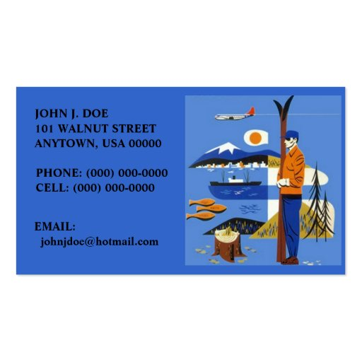 NW RETRO STYLE AIRPLANE SKIS SHIP BUSINESS CARDS!