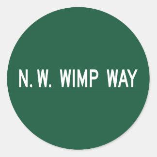 NW Wimp Way, Street Sign, Oregon, US Classic Round Sticker