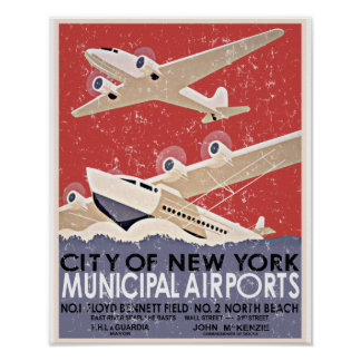 NY Airports Vintage Poster - c 1930 - distressed