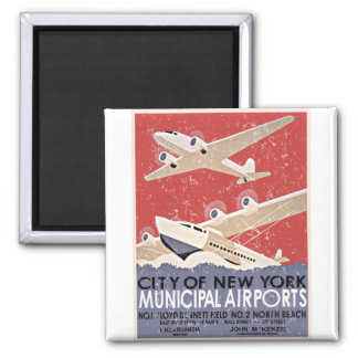NY Airports Vintage Poster - c 1930 - distressed Fridge Magnets