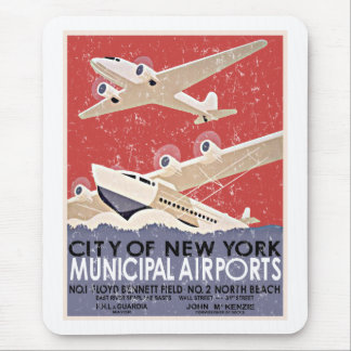 NY Airports Vintage Poster - c 1930 - distressed Mousepads