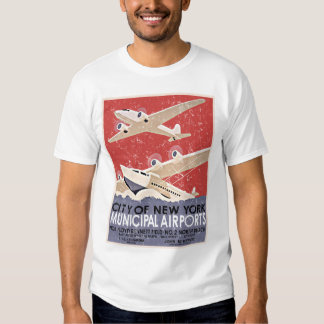 NY Airports Vintage Poster - c 1930 - distressed Shirt