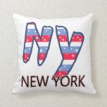NY - Blanco de la cita de Nueva York y azul rojos Almohadas