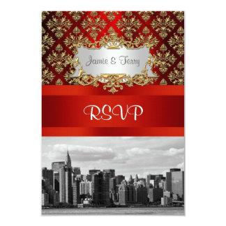 NY City ER Skyline BW Damask Invitation Suite