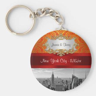 NY City Skyline BW 112 Red Gold Paisley Key Chain