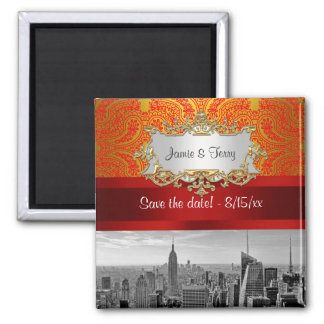 NY City Skyline BW 112 Red Gold Paisley Save  Date 2 Inch Square Magnet