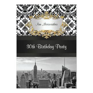 NY City Skyline BW 431 Damask Birthday Party V Card