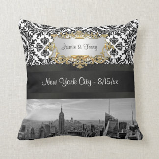 NY City Skyline BW 431 Damask Pillow