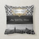 NY City Skyline BW 431 Damask Pillow