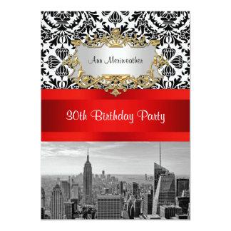 NY City Skyline BW 432 Damask Birthday Party V 5x7 Paper Invitation Card