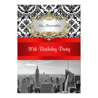 NY City Skyline BW 432 Damask Birthday Party V Card