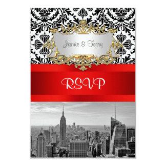 NY City Skyline BW 432 Damask  RSVP 1 Invite