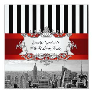 NY City Skyline BW B2 Birthday Party Invitation