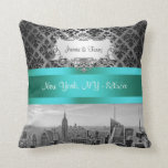 NY City Skyline BW B3 Damask F2 - Pillow