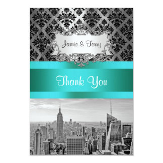 NY City Skyline BW B3 Damask F2 - Thank You 3.5x5 Paper Invitation Card