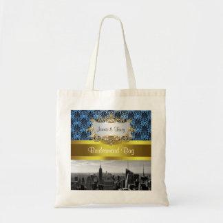 NY City Skyline BW Black BlueDeco Damask Inv Suite Canvas Bags