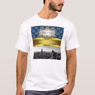 NY City Skyline BW Black BlueDeco Damask Inv Suite T-Shirt