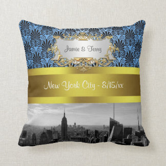 NY City Skyline BW Black BlueDeco Damask Inv Suite Throw Pillow