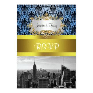 NY City Skyline BW Black BlueDeco Damask RSVP 3.5x5 Paper Invitation Card